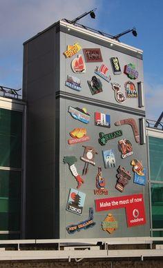 vodafone fridge building billboard ad