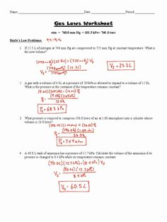 12 Chemistry Gas Laws Worksheet Answers With Work - - Chemistry Worksheets, Algebra Worksheets, Worksheets For Kids, Printable Worksheets, Chemistry Classroom, Teaching Chemistry, Chemistry Lessons, Chemistry Notes, Gas Laws Chemistry