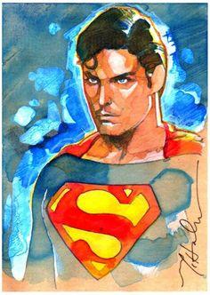 Superman water color art.