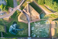 An aerial picture shows a painting created by French artist Saype for. Land Art, France, French Artists, Street Artists, Picture Show, Instagram, Nature, Pictures, Painting