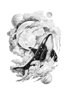fly me to the moon - tattoos Animal Coloring Pages, Art Prints, Mandala Art, Animal Art, Sketches, Art Drawings, Drawings, Art, Whale Tattoos