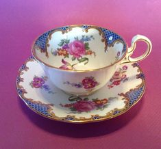 Aynsley Tea Cup And Saucer - Ornate Blue Fish Scale Borders And Spring Flowers #Aynsley