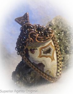 Mexican Crazy Lace  Drusy Antique Copper Wire by superioragates, $50.00