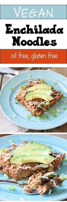 Enchilada Noodles | www.veggiesdontbite.com | #vegan #glutenfree #nooil #plantbased #spinach #zucchini #beans #mexican