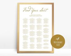 Gold Wedding seating chart printable seating chart Seating Seating Chart Template, Seating Charts, Find Your Seat Sign, Baby Bash, Seating Chart Wedding, All Design, Shower Invitations, Gold Wedding, Card Stock