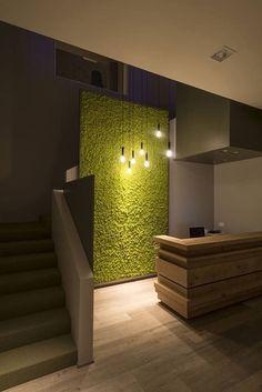 green home homedecor ideas nature # Cafe Interior, Office Interior Design, Office Interiors, Interior Decorating, Office Wall Decor, Office Walls, Door Design, House Design, Garden Wall Designs