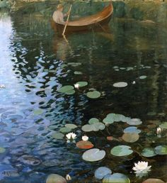 Pekka Halonen Lily Painting, Figure Painting, Shadow Art, Lily Pond, Painting Gallery, Vintage Artwork, Water Lilies, Water Crafts, Art Plastique