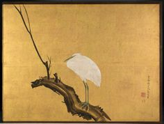 Detail: Heron on a Willow Branch, late 1700s Maruyama Okyo (Japanese, 1733-1795) two-fold screen; ink, color, lacquer and gold on silk.