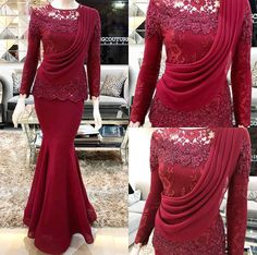 Source by muslimah Dress Brukat, Hijab Dress Party, Kebaya Dress, Dress Pesta, Saree Dress, Kebaya Hijab, Malay Wedding Dress, Wedding Dress Bustle, Muslimah Wedding Dress