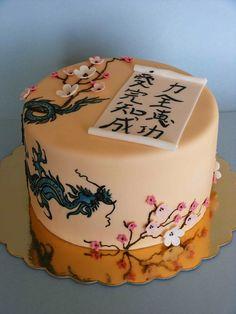 Gorgeous Asian Sakura cake with blue Dragon and scroll!  #cherry blossoms #asian theme #wedding