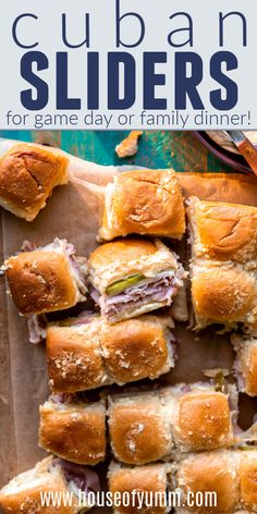 Cuban sliders are loaded with ham, swiss cheese, and dill pickles, topped with a dijon mustard onion spread! Super easy to make and definitely a crowd pleaser!! An easy to make sliders recipe!