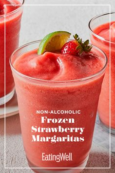 A frozen virgin strawberry margarita is a refreshing way to cool down on warm days. This margarita mocktail, which calls for only five ingredients, uses a bit of agave nectar to blunt the tartness of lime juice and fresh strawberries. Refreshing Drinks, Summer Drinks, Fun Drinks, Healthy Drinks, Healthy Food, Beverages, Healthy Appetizers, Drink Recipes Nonalcoholic, Alcohol Drink Recipes
