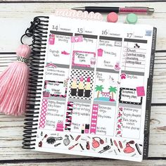 This week in my @erincondren lifeplanner with some of my favorite stickers from @paperandglam. Black keychains are available as an add-on to all tassel and pom pom keychains in my shop.  Shop link and coupon code is in my bio!