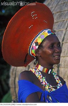 Zulu married woman wearing a traditional hat, Kwazulu-Natal, South Africa,and that jewelry is beautiful!!!