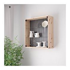 IKEA - NORNÄS, Glass-door wall cabinet, , Untreated solid pine is a ...