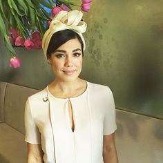 @_melanievallejo wearing @hugoboss dress and millinery (turban!) by @louisemacdonaldmilliner Oaks Day 2015
