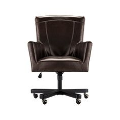 Colette Leather Desk Chair In Distressed Brown