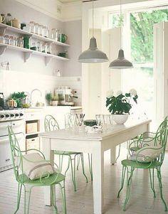 Decoración de Cocina en Blanco y Verde