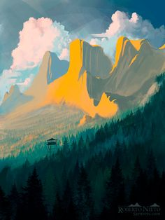 Awesome Digital Art — Firewatch by Syntetyc Landscape Concept, Fantasy Landscape, Landscape Art, Landscape Paintings, Landscapes, Art And Illustration, Illustrations, Fantasy Kunst, Fantasy Art