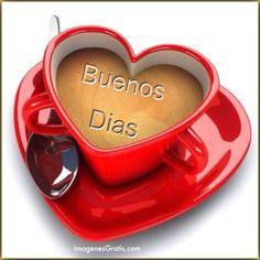 Bonita tazá de café con forma de corazón: Buenos Dias