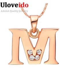 Uloveido letra a b c d e f g h i j k l m n o p Q I S T U V W X Y Z Joyas de Cristal Colgante de Collar de Oro Rosa Plateado Regalo N958