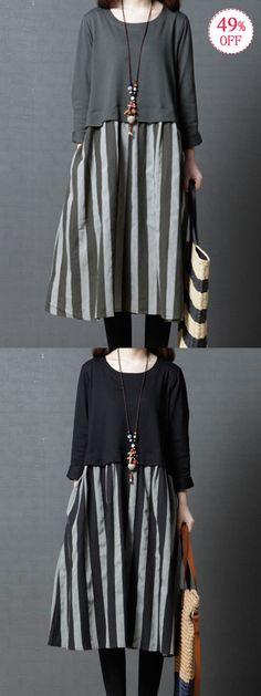 Vintage Stripe Patchwork Long Sleeve Pocket Dresses. Comfy and soft Cotton material. #vintage #pocket #dresses