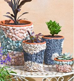 Decorate small planter pots with pebbles in two colours for a mosaic-like design.