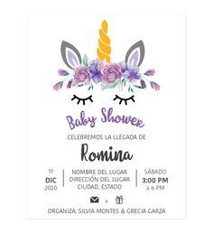 Diseño Invitación Baby Shower Unicornio Flores Morado - Personalizados