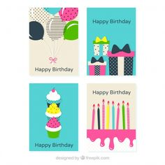 Set of four flat birthday cards Free Vector
