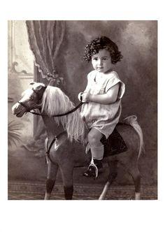 1889 Little Girl's Big Toy Horse. (fiction) Lillie Mae Parkman, age 3 - 1896.