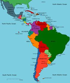 A map of Central and South America with the countrys  from South America -Brazil  Columbia  French Guinana venezuela peru Guyana  Chile Argentina Uruguay Paraguay Bolivia Ecuador Suriname From Central America - Cuba Costa Rica Jamaica El Salvador Dominican Republic Mexico Honduras Guatemala Nicaragua Belize Haiti