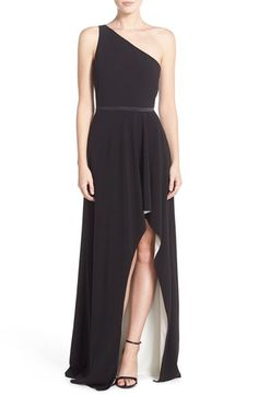 Halston Heritage One Shoulder Luxe Crepe High/Low Gown available at #Nordstrom