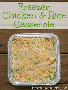 Easy recipe for Freezer Chicken and Rice Casserole. Freezer Chicken & Rice Casserole - This easy chicken and rice casserole recipes make four freezer meals. Freezer Friendly Meals, Slow Cooker Freezer Meals, Easy Freezer Meals, Make Ahead Meals, Freezer Cooking, Freezer Burritos, Freezer Recipes, Meal Recipes, Cooking Tips