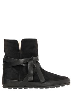 ISABEL MARANT - ETOILE 20MM NYGEL SUEDE SHEARLING BOOTS - LUISAVIAROMA