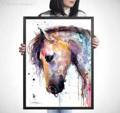 Beautiful Horse watercolor painting print by Slaveika Watercolor Horse, Watercolor Paper, Watercolor Paintings, Original Paintings, Cow Drawing, Beautiful Horses, Painting Prints, Giclee Print, Moose Art