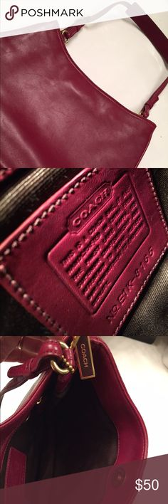 Coach Purse - Burgundy/Red - authentic 10 3/4 x 8, strap 8in adjustable. Great condition, small indentations on one side (pictured) - due to storage. Only used a couple of times. Leather, authentic Coach. No dust bag. Coach Bags Shoulder Bags