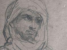 CHASSERIAU Théodore,1846 - Arabe debout, retenant un pli de son Burnous - drawing - Détail 11