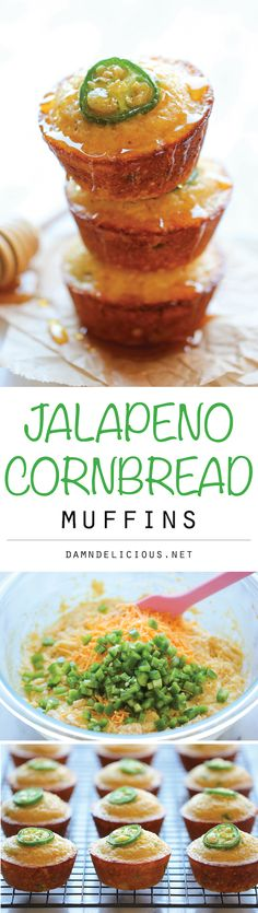 Jalapeño Cornbread Muffins - These sweet, crumbly muffins are unbelievably easy to make and incredibly addicting! Soup Appetizers Soup Appetizers dinners Soup Appetizers Soup Appetizers dinners carb Soup Appetizers Appetizers with french onion Mexican Food Recipes, New Recipes, Dinner Recipes, Cooking Recipes, Favorite Recipes, Healthy Recipes, Ethnic Recipes, Cream Recipes, Brunch Recipes