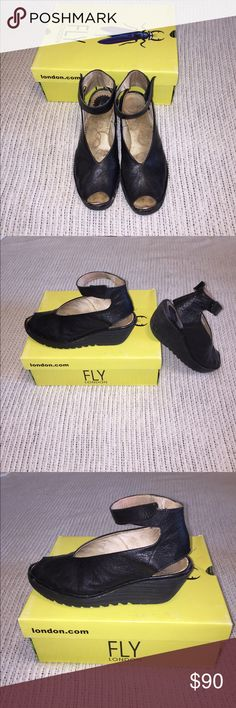 Fly London Yala Black Has lots of wear, but no major damages. The bottom sole has been worn down and the heel has as well. None the less these shoes will still work great and look amazing on anyone. Fly London Shoes Wedges