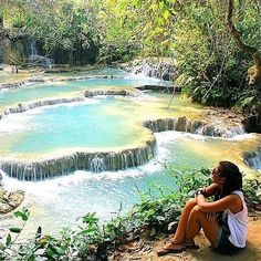 """- 🌎 Kuang Si Waterfall, Laos 📷@karin.bi """"Kuang Si Waterfall outside Luang Prabang, Laos"""" - 📝: www.backpackerstory.org ✏️ Travelblogger:  Get featured on backpackerstory.org and all social accounts @backpackerstory @backpackerstory_org Go to backpackerstory.org/contribute or send us a message on Facebook [Link in Bio] 📷 Instagram : Contribute on Facebook.com/backpackerstory for a FEATURE"""
