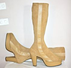Vintage BATTANI Platform Boots Tan Suede Leather by StatedStyle, $375.00