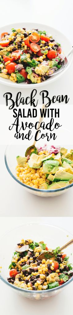 A healthy and delicious Vegan Black Bean Salad with Corn and Avocado In A Tangy Lime Dressing - No-Cook, Full Of Heart Healthy Fat and Loaded With Flavor! #vegan #blackbean #salad #healthy #recipes #vegetarian #corn #delicious #veganrecipes