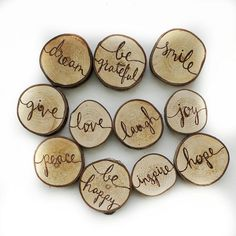 rustic magnets. love magnets, joy magnets, peace magnets, great little gift for a friend or family member, rustic home decor, kitchen decor.