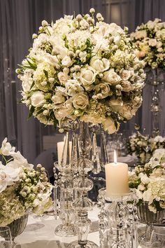 White flowers as centre pieces; Trendy Wedding, Floral Wedding, Perfect Wedding, Wedding Flowers, Dream Wedding, Reception Decorations, Wedding Centerpieces, Wedding Table, Wedding Bouquets