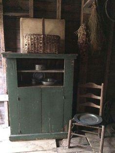 Primitive decor with green cupboard Primitive Furniture, Primitive Antiques, Country Furniture, Country Primitive, Antique Furniture, Primitive Decor, Primitive Cabinets, Farmhouse Furniture, Prim Decor