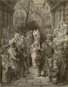 The bride hath paced into the hall, red as a rose is she - Paul Gustave Dore - Plate 3 (Quesnal, engraver)