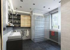 Koupelna s dlažbou v antracitu | AŤÁK DESIGN Closet, Design, Home Decor, Armoire, Decoration Home, Room Decor, Closets, Cupboard