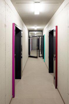 Color on Door Frame Projections - Student Residence in Kamp-Lintfort,Courtesy of bob-architektur