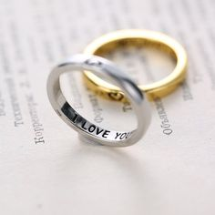 """Personalized Wedding Rings Thin Secret Message Ring Gold/Silver Posey Ring with """" I Love You """", Lovers Gifts ring for women men(China (Mainland))"""