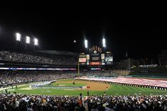 Comerica Park in Detroit after the sun goes down.